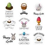 Easter design elements set. Bunny, colorful eggs, Egg holder, Basket, Bird nest. Vector. Easter design elements set. Bunny, colorful eggs, Egg holder, Basket Stock Image
