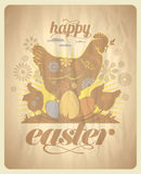 Easter design with hens and eggs. Stock Images
