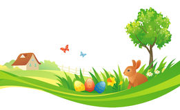 Easter design. Illustration of an Easter design with a country scene Stock Photos