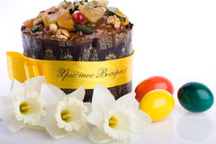 Easter dessert paskha close-up, eggs, daffodils on Royalty Free Stock Photos