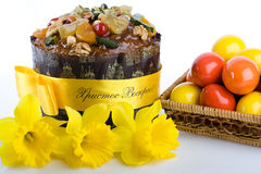 Easter dessert paskha, eggs in woven basket, daffo Royalty Free Stock Photo