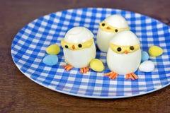 Easter deviled egg chicks Stock Photos
