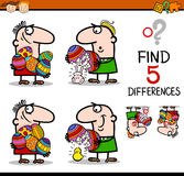 Easter differences task. Cartoon Illustration of Finding Differences Educational Task for Preschool Children with Easter Theme Royalty Free Stock Images