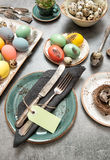 Easter dinner. Festive table place setting decoration Royalty Free Stock Image