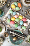 Easter dinner. Festive table place setting decoration Royalty Free Stock Images