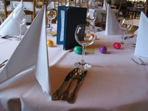 Easter dinner table. Layed a place at an elegant restaurant Royalty Free Stock Photography