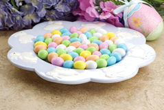 Easter Dish Full of Candy Stock Photos