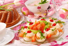 Easter dishes on festive table. Traditional  dishes for polish easter breakfast on festive table Royalty Free Stock Photography