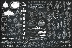 Easter Doodle borders,egg,ribbons,floral decor Stock Photos