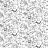 Easter doodle seamless pattern Stock Image