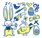 Easter doodles collection. Hand drawn easter doodles and objects Royalty Free Stock Image