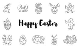 Easter doodles large collection hares chickens royalty free illustration