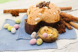 Easter dove and easter eggs- colomba pasquale Royalty Free Stock Images