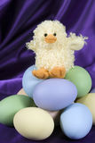 Easter Duck with Eggs - vertical Royalty Free Stock Photography
