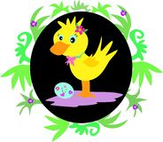Easter Duck in Leaf Frame Stock Photography