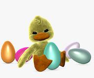 Easter duckling with eggs Royalty Free Stock Photos