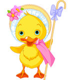 Easter Duckling with shepherdess staff Stock Image