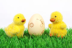 Easter ducklings with ecru easter egg Royalty Free Stock Images