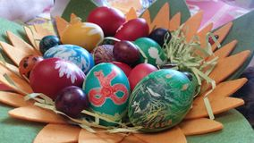 Easter dyed Eggs. Colorful children art Stock Photos