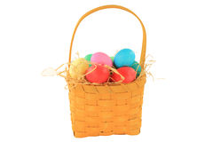 Easter dyed eggs in wooden square shaped basket Stock Photography