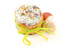 Easter Easter cake and eggs Stock Photo