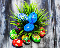 Easter/ Easter eggs basket royalty free stock photos