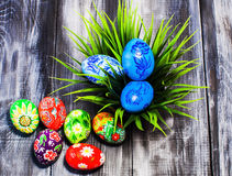 Easter/ Easter eggs basket. / painted Easter eggs/Easter flowers Royalty Free Stock Photos