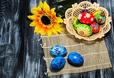 Easter/ Easter eggs basket stock photography