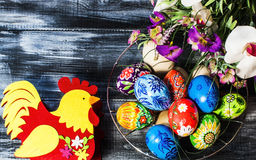 Easter/ Easter eggs basket. / painted Easter eggs/Easter flowers Stock Photography