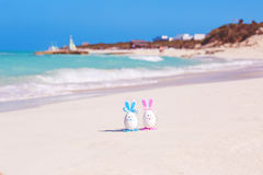 Easter, Easter eggs on the beach, ocean and sea Royalty Free Stock Image