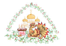 The Easter - Easter eggs and chicken, churches and cathedrals, Russian style Khokhloma Stock Photo