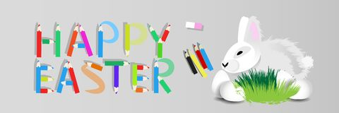 Easter. Easter rabbit on a gray. Background with colored pencils .. Happy Easter inscription Royalty Free Stock Image