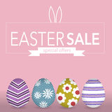 The easter eegs banner for easter sales with special offers Stock Image