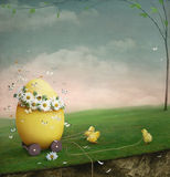 Easter egg. This poster was painted in Photoshop, congratulations for Easter stock illustration