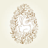 Easter egg. With floral elements, greeting card Stock Images