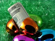Easter egg. Bronze Easter egg and cash Stock Photography