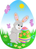 Easter egg. Rabbit and an Easter egg. A vector illustration Stock Photo