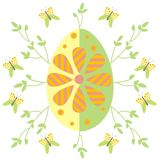 Easter egg. Illustration of easter egg with branches and butterflies Vector Illustration