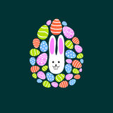 Easter egg. Composition of multiple eggs with a rabbit in it's center Stock Illustration