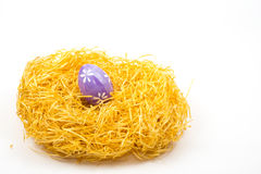 Easter egg. In nest on white Royalty Free Stock Photography