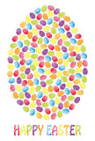 Easter egg. Made of many small s with the note Happy Easter. Fully, easily illustration that can be used at any size. Included files: EPS10, JPG. Text converted stock illustration