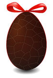Easter Egg. Illustration of Easter egg made of black chocolate with a red bow stock illustration