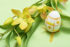 Easter egg. With yellow orchid on green background