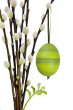 Easter egg. A green decorated easter egg handing on a branch of catkins with a green sprout Royalty Free Stock Photo