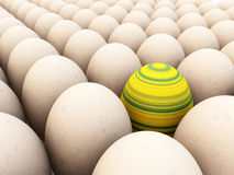 Easter Egg Amongst Eggs. Easter egg amongst regular eggs for difference concepts Royalty Free Stock Image