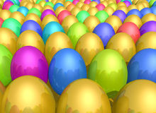 Easter egg background. Background of colorful Easter eggs receding into distance Royalty Free Stock Photo