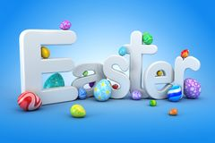 Easter egg background - 3d render Royalty Free Stock Photography
