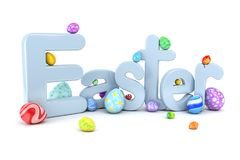 Easter egg background - 3d render. Easter egg background isolated on white - 3d render Stock Photo