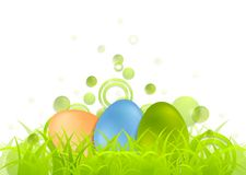 Easter egg background with green grass Stock Photos