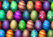 Easter Egg Background. Holiday eggs decoration with multi colored festive spring ovals in a celebration of traditional cultural easter egg hunt Stock Image